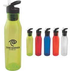 """Keep your marketing campaign cool with this sleek water bottle. guaranteed to get second looks.  Your logo will really be seen on this 24 oz BPA free water bottle with straw. Features a flip top lid.  Overall size is 3"""" x 11 3/8""""."""
