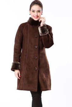 BGSD Women`s Faux Shearling Raglan Sleeve Walking Coat in Black or Chocolate - List price: $229.99 Price: $89.99 Saving: $140.00 (61%)