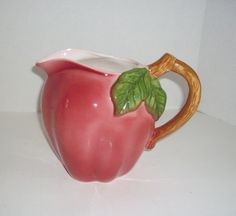 WATER JUG,COLLECTIBLE,NEW APPLE DÉCOR,RED APPLE PITCHER FIGURAL,BEVERAGE