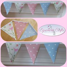 Beautiful Handmade oil cloth bunting - Garden bunting, Outdoor bunting, Waterproof bunting, Garden party Decor, Wedding bunting, Craft Stall