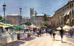 "Trevor Waugh     ""Spanish Market, Valencia"" watercolour on handmade paper 13""x 8"""
