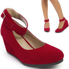 Sexy Red Mary Jane Ankle Strap Med Low Wedge Heel Ballet Flat Pump Shoe US 9 #Forever #PlatformsWedges