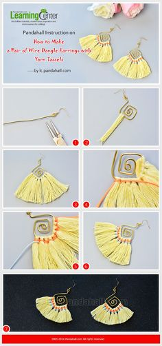Pandahall Instruction on How to Make a Pair of Wire Dangle Earrings with Yarn Tassels from LC. Thread Jewellery, Tassel Jewelry, Fabric Jewelry, Wire Jewelry, Jewelry Crafts, Beaded Jewelry, Handmade Jewelry, Jewelry Ideas, Jewellery Box