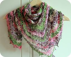 This is the Elise Shawl you can find on Ravelry. I like the yarn that this one was done in.