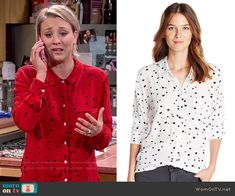 Penny's red heart print shirt on The Big Bang Theory. Outfit Details: http://wornontv.net/52377/ #TheBigBangTheory (exact color not online)