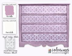Colorways with Leslie Stocker » Moroccan Stencil by Royal Design Studio. Annie Sloan Chalk Paint. Henrietta. Pure White