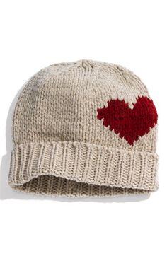 cute knit heart hat.