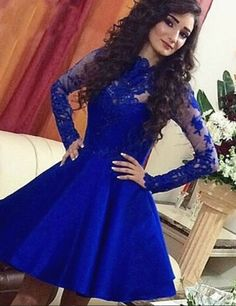 Royal Blue Appliques A-line Royal Blue Long Sleeves Short Homecoming Dress