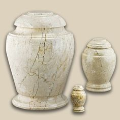 Creme Travertine Vase Marble Pet Urn - Petite
