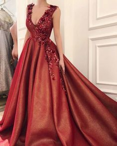 Red Appliques Ball Gown Prom Dress, Sweet 16 Dresses,Quinceanera Dresses, Shop plus-sized prom dresses for curvy figures and plus-size party dresses. Ball gowns for prom in plus sizes and short plus-sized prom dresses for V Neck Prom Dresses, Ball Gowns Prom, Sexy Dresses, Fashion Dresses, Formal Dresses, Dresses Uk, Sweet 16 Dresses, Sweet Dress, Pretty Dresses