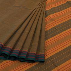 Green Handwoven Kanchipuram Cotton Saree With Striped Pallu & Without Blouse 10010087 - AVISHYA.COM