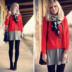 Sweater layered over dress that's layered over thick tights. Holiday Outfits, Fall Winter Outfits, Thick Tights, T Shirt Image, Sweater Layering, Zara Skirts, Love Her Style, Cold Day, Casual Fall