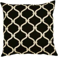 Modern Classic Textured Pillow in Black & Creme | Luxurythrowpillows.com | CLICK HERE for more information | From $75 +