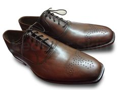 Men Brown Formal Genuine Handmade Leather Shoes with Laces Brown Leather Shoes, Handmade Leather Shoes, Brown Oxfords, Leather Skin, Oxford Brogues, Oxford Shoes, Derby Shoes, Fashion Boots, Men's Fashion