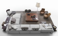 A Flexform living room! In this composition a Lario sectional wraps around two…