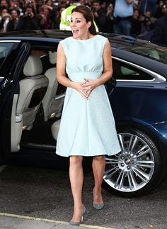 Kate Middleton stepped out in a pale blue Emilia Wickstead frock