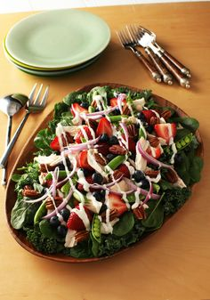 Kale-Berry Ranch Salad -- Ready for the dinner table in just 15 minutes, this summer salad recipe is perfect for meals by the pool!