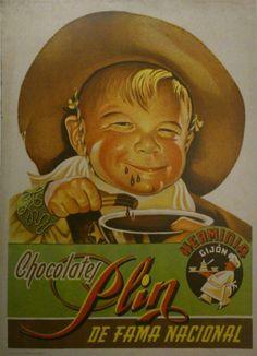 Antiguo anuncio de CHOCOLATES PLIN, de Gijón. La fábrica se fundó en 1885 por la familia de Don Herminio Fdez., que fue también alcalde de Gijón. Al principio solo fabricaban chocolate a la taza y su elaboración era manual. En 1960 un industrial gijonés compró los derechos de marca y fabricación del chocolate y empezó a elaborar otros tipos de chocolate, naciendo entonces la marca Plin