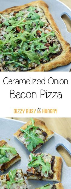 Caramelized Onion Bacon Pizza http://www.dizzybusyandhungry.com/caramelized-onion-bacon-pizza/
