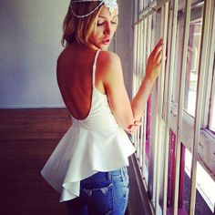 circle flounce on chemise top. Cute Fashion, Teen Fashion, Fashion Outfits, Backless Top, Tees, Passion For Fashion, Spring Summer Fashion, Dress To Impress, Cute Outfits