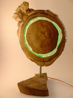 Wooden green LED lamp treeslice acacia with clear epoxy Ring Lamp, Nerd Decor, Shop Display Stands, Resin Furniture, Green Led, Wood Planters, Wooden Lamp, Wood Resin, Night Lamps
