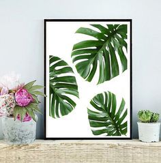 Monstera tropical de arte imprimible, la hoja, hojas, hojas tropicales, decoración Tropical, decoración de la pared verde, descarga instantánea, arte de la pared
