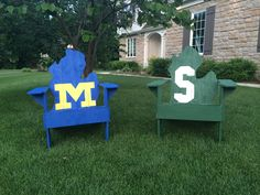 University of Michigan and Michigan State adirondack chairs - one for Katelynn and one for me and Ryan to fight over!