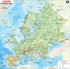 image result for physical map of europe