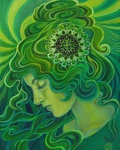 Green Goddess Gaia Fine Art Print Pagan Mythology Art Nouveau Emerald Psychedelic Gypsy Gaia G Psychedelic Art, Gaia Goddess, Green Goddess, Aurora Goddess, Earth Goddess, Mother Goddess, Art Nouveau, Gods And Goddesses, Belle Photo