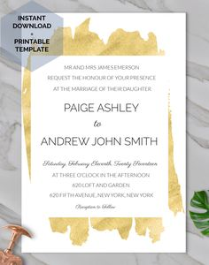 Modern Wedding Neutral Invitation Gold Editable DIY Summer Printable Download PDF Template Digital --------------------------------------------------------------------------------------------------------------------------------------------------  This modern wedding invitation gold includes one high resolution editable PDF template. You can edit and print as many as you need. Print on white/cream 80lb+ cardstock for a modern invitation.  💍 JOIN THE MAILING LIST FOR AN INSTANT 10% OFF CO...