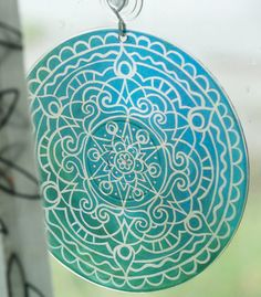 Teal Mandala Suncatcher Bohemian Home Decor by EyePopArt on Etsy
