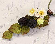 Floral berry pendant necklace Blackberries by JewelleryForWorld