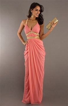 Draping Beading Belted Cutout Formal Dress - OuterInner.com