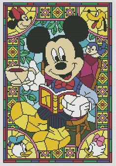 Disney cross stitch pattern Mickey Mouse in pdf.