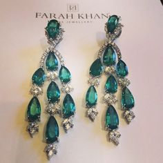 Farah Khan fine jewelry, emerald and diamond earrings
