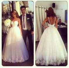 Charming White Wedding Dress ,Spaghetti Straps Sexy Tulle