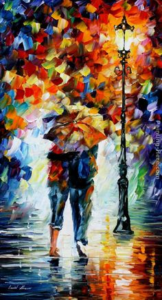 leonid afremov | Leonid Afremov - Leonid Afremov BONDED BY THE RAIN Painting