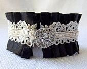 Shabby Fabric Cuff, Denim and Crochet Cuff, Rhinestone Button Cuff, Rustic Bracelet. $16.00, via Etsy.