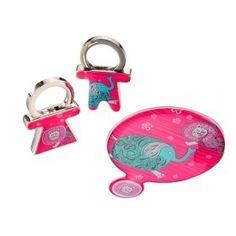 spielerisch Löwe & Elefant kompakte Spiegel und Schlüsselanhänger Set
