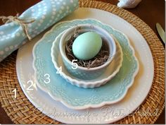 Getting the Pottery Barn Look for Less (Spring 2014 Tablescape) 1. Wicker charger (Walmart-$4) 2. Beaded trim dinner plate (Dollar Tree-$1) 3. Aqua salad plate (Pier 1-$7) 4. Ramekin (World Market-$2) 5. Small hobnail bowl (Pier 1-$2) I cheated a little on #4 and use a plain white ramekin since I couldn't find a pretty patterned salad plate like the one from Pottery Barn.