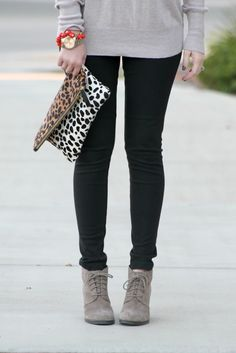 slouchy sweater + dark skinny jeans + bootie (with a touch of animal print)