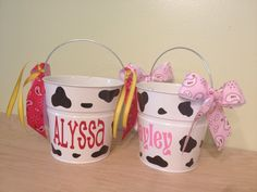 Halloween bucket: Cow, cowgirl, farmer Personalized halloween trick or treat metal bucket, 2 quart toddler size pail, match your costume by DeLaDesign on Etsy https://www.etsy.com/listing/162525792/halloween-bucket-cow-cowgirl-farmer