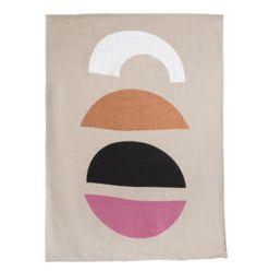 THE SUNRISE LINEN THROW Pink/Black/Bronze/White