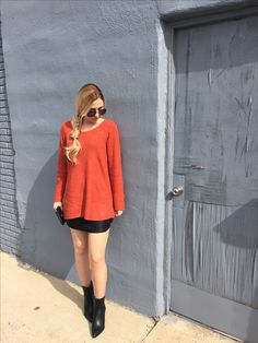 Fall Fashion  Rust Sweater + Leather Skirt + Black Booties