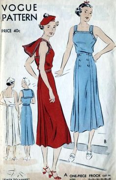 Vogue 7223 | ca.1935 one-piece frock