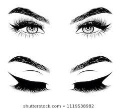 Hand-drawn woman's sexy makeup look with perfectly perfectly shaped eyebrows and extra full lashes. Idea for business visit card, typography vector. Perfect salon look - Buy this stock vector and explore similar vectors at Adobe Stock Perfect Eyebrow Shape, Perfect Eyebrows, Fresh Makeup Look, Makeup Looks, Sexy Makeup, Makeup Art, Eyebrows Sketch, Eyelash Studio, Desgin