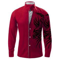 Totem Print Turn-down krage långärmad shirt för Män