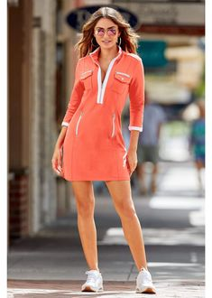 Sporty can be sexy in this chic zip dress designed with contrasting stripe details plus an exposed gold-tone partial front zip, zip chest pockets, button flap chest pockets, Source by riouxcl the shoulder Tankinis Casual Dresses, Casual Outfits, Dresses For Work, Sporty Dresses, Fall Outfits, Fashion Outfits, Running Errands Outfit, New Arrival Dress, Little White Dresses