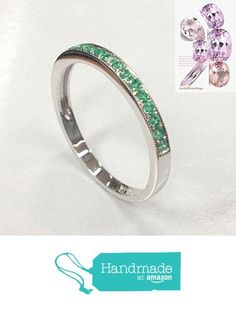 Natural Emerald Wedding Band Half Eternity Anniversary Ring 14K White Gold from the Lord of Gem Rings www.amazon.com/…