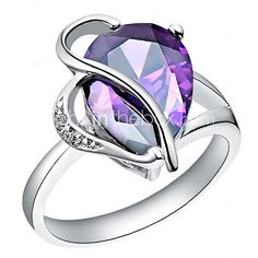 Ring,Statement Rings,Jewelry Zircon / Platinum Plated Wedding / Party / Daily / Casual Purple6 / 7 / 8 / 9 Women - USD $3.99